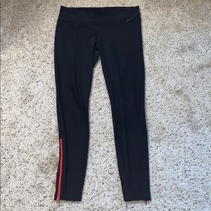 Nike Dri-Fit Black Zipper Ankle Leggings- Large
